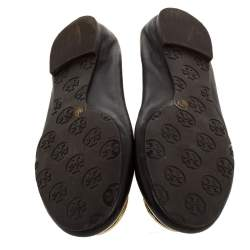 Tory Burch Brown Leather Minnie Scrunch Ballet Flats Size 37