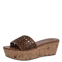 Tory Burch Brown Leather Cut Out Logo Cork Wedge Platform Sandals Size 40