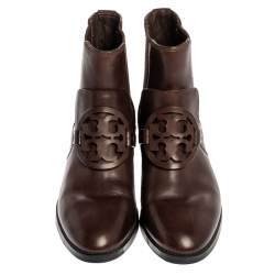 Tory Burch Brown Leather 'Miller Hi Veg' Slip On Ankle Booties Size 37
