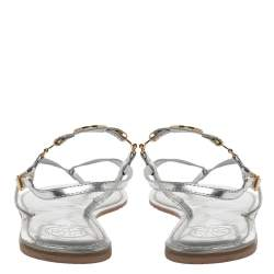 Tory Burch Metallic Silver Leather 'Ali' Thong Sandals Size 41