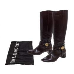Tory Burch Dark Brown Leather Riding Knee High Boots Size 39