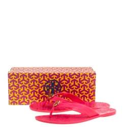 Tory Burch Parriot Pink Rubber Jelly Thora Thong Flats Size 39
