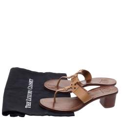 Tory Burch Brown Textured Leather Moore Thong Slide Sandals Size 37