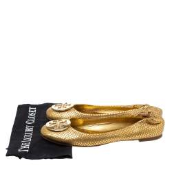 Tory Burch Metallic Gold Snakeskin Effect Leather Minnie Scrunch Ballet Flats Size 40