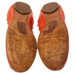 Tory Burch Orange Leather Scrunch Ballet Flats Size 38