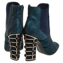 Tory Burch Blue Glitter Suede Embellished Heels Ankle Boots Size 38