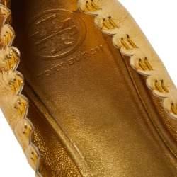 Tory Burch Metallic Gold Leather Tassel Scrunch Ballet Flats Size 39.5