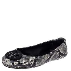 Tory Burch Tri Color Python Embossed Leather Minnie Flats Size 39