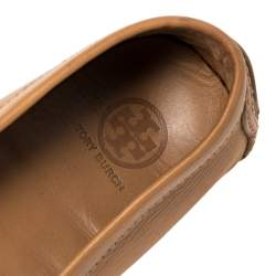 Tory Burch Brown Leather Slip On Loafers Size 39