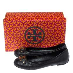 Tory Burch Black Leather Logo Ballet Flats Size 37.5