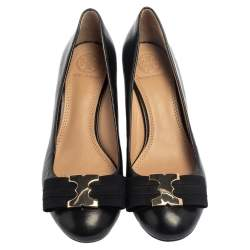 Tory Burch Black Gemini Link Bow Wedge Pumps Size 36.5