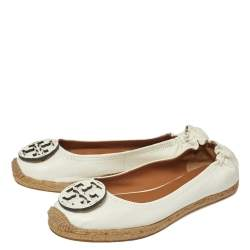 Tory Burch White Leather Reva Logo Espadrille Ballet Size 38