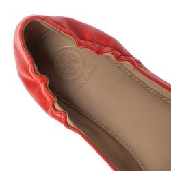 Tory Burch Orange Leather Scrunch Bow Ballet Flats Size 37