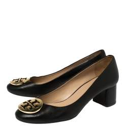 Tory Burch Black Leather Janey Block Heel Pumps Size 39