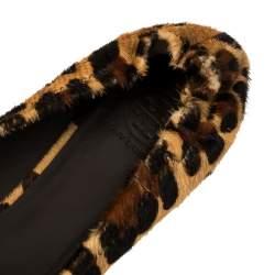Tory Burch Beige Leopard Print Calf Hair Reva Ballet Flats Size 39