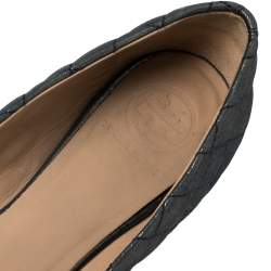 Tory Burch Grey Glitter Leather Reva Scrunch Ballet Flats Size 39.5