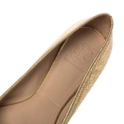 Tory Burch Gold Leather Reva Ballet Flats Size 39