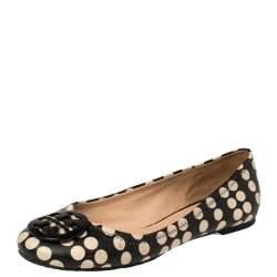Tory Burch Black Leather Reva Scrunch Ballet Flats Size 39