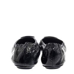 Tory Burch Black Patent Leather Reva Scrunch Ballet Flats Size 39.5