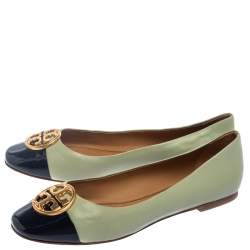 Tory Burch Green/Black Leather Cap Toe Ballet Flats Size 38