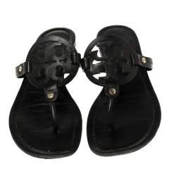 Tory Burch Black Leather Miller Slide Flats Size 39