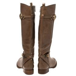 Tory Burch Brown Leather Mid Calf Boots Size 39.5