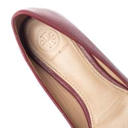 Tory Burch Burgundy Leather Reva Ballet Flats Size 35.5