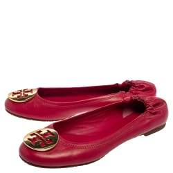 Tory Burch Magenta Leather Reva Scrunch Ballet Flats Size 38