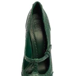 Tory Burch Green Snake Embossed Leather Pumps Size 38.5