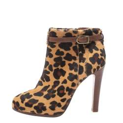 Tory Burch Brown Leopard Print Calf Hair Ankle Booties Size 38.5