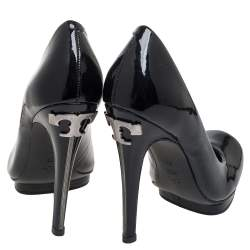 Tory Burch Black Patent Leather Embellished Heel Round Toe Pumps Size 36