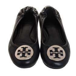 Tory Burch Black Leather Minnie Travel Logo Ballet Flats Size 37.5