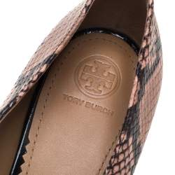 Tory Burch Purple Velvet And Python Embossed Leather Jessa Embellished Slip On Loafers Size 40
