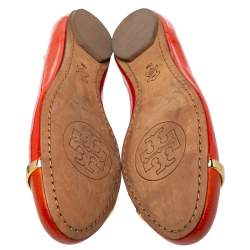 Tory Burch Orange Patent And Leather Logo Ballet Flats Size 37