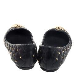 Tory Burch Black Leather Kaitlin Cap Toe  Ballet Flats Size 37
