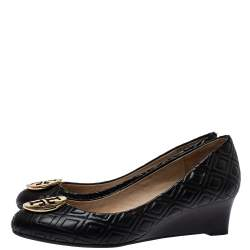 Tory Burch Black Leather Marion Wedge Pumps Size 37.5