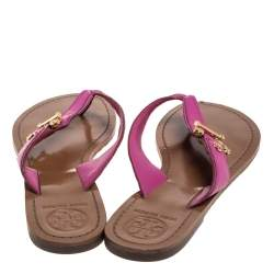 Tory Burch Pink Leather Thong Flats Size 39