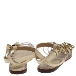 Tory Burch Cream Leather And PVC Gladiator Flat Sandals Size 38