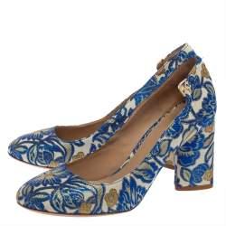 Tory Burch Multicolor Jacquard Fabric New Classic Luxury Heel Pumps Size 38.5