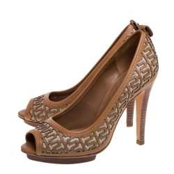 Tory Burch Brown Leather Regan High Heel Peep Toe Pumps Size 36.5