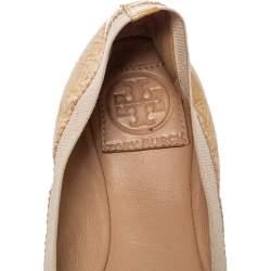 Tory Burch Beige  Patent Leather  Caroline Ballet Flats Size 38