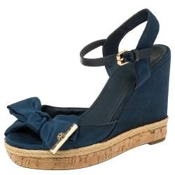 Tory Burch Blue Fabric And Leather Espadrille Wedge Ankle Strap Sandals Size 37