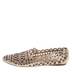 Tory Burch Dull Gold Laser Cut Leather Logo Thatched Espadrille Flats Size 41