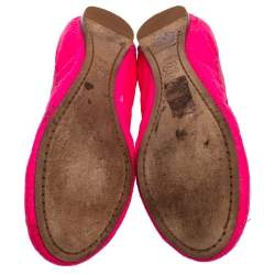 Tory Burch Neon Pink Python Embossed Leather Caroline Ballet Flats Size 38
