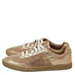 Tory Burch Beige/Gold Suede And Leather Perforated Logo Lace Up Sneakers Size 40