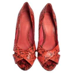 Tory Burch Red Snakeskin Peep Toe Pumps Size 36