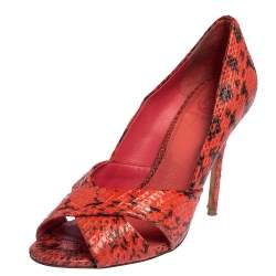Tory Burch Red Snakeskin Peep Toe Pumps Size 36