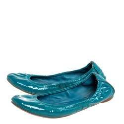 Tory Burch Blue Patent Leather Scrunch Ballet Flats Size 36