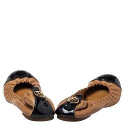 حذاء فلات باليه تورى برش مجعد غطاء مقدمة جلد لامع وجلد بنى / أسود مقاس 38