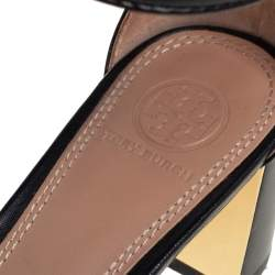 Tory Burch Black Leather Block Heel Ankle Strap Sandals Size 38